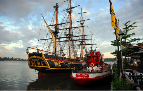HMS Bounty and Fireboat John J Harvey at Pier 66 Maritime. Photo: Working Harbor Committee